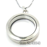 Wholesale 5PCS mm Silver Round magnetic glass floating charm locket Zinc Alloy chains included for free