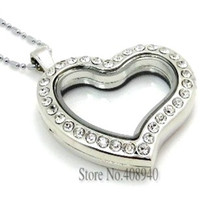 Wholesale 5PCS mm Silver Heart magnetic glass floating charm locket Zinc Alloy Rhinestone chains included for free