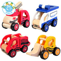5-7 Years Bus Metal Toys paradise!Child wooden vehicle model police bulldozer fire truck wooden car model toy my little vehicles free shipping