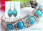 Wholesale SET NEW IN FASHION TIBET SILVER TURQUOISE BEADS BRACELET amp EARRINGS