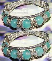 bead jade jewelry - Pair Lovely Jewelry tibet Silver Beautiful Blue Jade Beads Bracelets