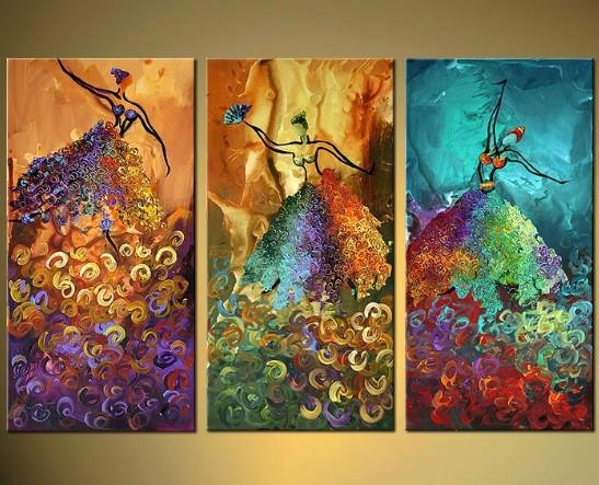 3 panels modern abstract oil painting figure paintings for 3 panel painting