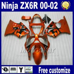 7gifts fairing body kits for ZX6R 00-02 kawasaki ninja ZX 6R 636 ZX-6R ZX636 ZX-636 2000 2001 2002 brown black race motorcycle fairings Hy9