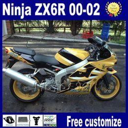 Free Customized For kawasaki ninja ZX-6R ZX 6R 636 ZX6R ZX636 ZX-636 ABS plastic fairing kit 2000 2001 2002 yellow black Fairing as10