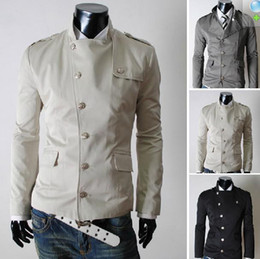 Wholesale New Fashion Men s Slim Oblique entrance guard design Shoulder strap Coat Outerwear