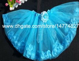 Blue fairy petal tutu princess birthday party tutus skirt baby girl dance skirts birthday tutu for girls