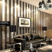 Wholesale Non woven wallpaper pure color stripe study living room bedroom plain coloured stripe wallpaper