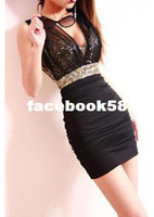 Casual Dresses V_Neck Sheath Wholesale - Free Shipping 2013 Sexy Dress Short Tight Prom Mini Luxury Bodycon Fit Satin Women Clothes Fashion Evening New Arrival Summer