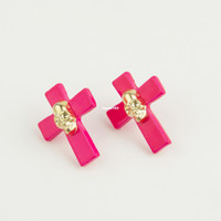 Wholesale Hot fluorescent colors gold skull earring fashion earrings cross
