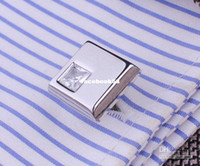 Wholesale XMAS GIFT pair set CUFFLINKS SILVER CLEAR Swarovski CRYSTAL SQUARE WEDDING GROOM VIN