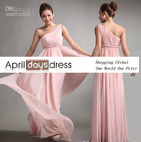 Reference Images Sash Sleeveless Custom MadeBridesmaid Dresses Sweet princess Greek Style Goddess One-shoulder Bare Pink Party Dress