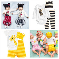 Wholesale 3PCS SET New cotton children Minnie mouse animals baby boys girls sets clothes Long sleeved Romper hat pants children clothing set