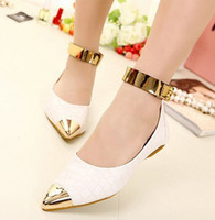 Wholesale Lady s Fashion Leisure Korea Style Ankle Strap Metal Pointed Flat Shoes For Womens