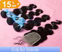 Brazilian Hair 1B Natural Color Straight 15% OFF-Wholesale Virgin Remy Hair 4*4inch+3pcs Body Wave Straight 1B# Natural Color Brazilian Hair Weave Weft Top Lace Closure With Bundles