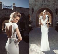 Sheath/Column Reference Images V-Neck 2014 Stylish Backless Wedding Dresses Sheer V-Neck Short Sleeve Sheath Floor-Length White Stretch Satin Bridal Gowns