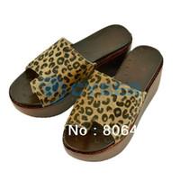 Women Spool Heel EVA Cheap 2013 Summer Lady Women's Leopard High Heel Wedge Slippers Flip Flops Shoes 14295