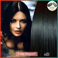 Wholesale 15 quot quot quot quot Indian Clip in Human Hair Extensions jet black silky soft Straight Clip Hair Extension Remy A Grade free ChinaPost