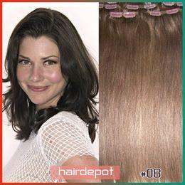Wholesale 15 quot quot quot quot Indian Clip on Hair Extensions Human medium ash brown silky Straight Hair Extension Clip ons Remy A Grade free ChinaPost
