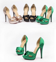 Wholesale 2014 champane designer shoes wedding bride satin pumps sexy peep toe stiletto heel dress shoes Size ePacket