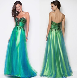 Wholesale 2014 New Sexy Sweetheart Sequin Bodice Green Peacock Blue Tulle Pageant Gown Evening Party Dress Formal Floor length Blush Prom Dresses