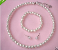 Wholesale Cream Faux Acrylic Pearl Beaded Choker Necklace Bracelet and Stud Earrings Prom Party Jewelry Sets