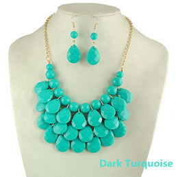 9 colors in stock-Resin 3 Layers Faceted Tear Drop Bib Necklaces Statement Necklaces and Earrings Sets