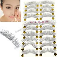 Wholesale New Pairs Handmade Fake False Eyelash Lashes Natural Look Transparent Stem Black