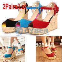 Men Spool Heel Adult 2Pairs Lot Fashion Women's Pumps Platform High Heel Wedges Ankle Strap Sandals Shoes Black, Red, Blue 13376