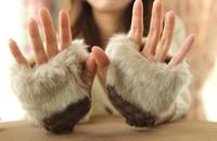 Wholesale Fashion Winter Arm Warmer Fingerless Gloves Knitted Fur Trim Gloves Mitten