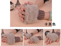 Wholesale hot selling Fashion Winter Arm Warmer Fingerless Gloves Knitted Fur Trim Gloves Mitten