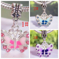 Wholesale Hot Enamel Butterfly Dangle Bead for Silver European Charm Bracelets mm x mm z030