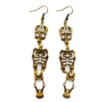 Wholesale Vintage Style Bronze Alloy Rhinestone Crown Skeleton Dangle Stud Earrings Pairs womens long earrings