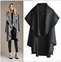 Cardigan ladies poncho - Women s Cotton Ponchos Coat Fashion Ladies Cape Outerwear Brief Non Sleeve Wind Coat