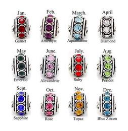 Wholesale 120pcs Antique Silver Plated Birthstone Spacer Beads Fit European Bracelets DIY MM