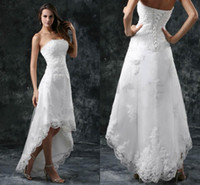 Reference Images white high low dresses - Fashion Ladies High Low Wedding Dresses Vintage Applique Lace A line Front Short Back Long Strapless White Beach Wedding Gowns Cheap