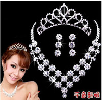 Cheap 2014 Free Shipping Charming Rhinestone Crystal Bridal Jewelry Bridal Sets Hair accessories necklace+earrings+tia