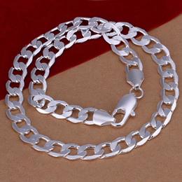 Wholesale Men s Silver inch Necklace mm mm mm mm Flat Necklace gift bag