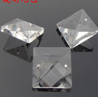 Wholesale transparent color mm crystal glass square beads in holes for crystal loose beads