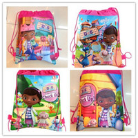 Backpacks School Bags Yes 5 peice Free shipping~new design Doc mcstuffins Cartoon backpack Bag non-woven fabrics Kid's School bag ,birthday party gift,