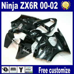 7gifts ABS motobike parts For kawasaki ninja ZX-6R ZX 6R 636 ZX6R ZX636 ZX-636 fairings kit 2000 2001 2002 all glossy black fairing set as38