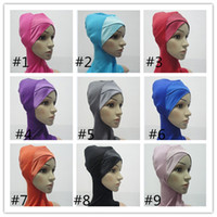 Wholesale Fedex new Cotton Women s Muslim Hijab Scarf Convenient Muslim Cap Multi colours