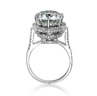 Wholesale Glaring ct SONA Synthetic Diamond Finger Rings for Women K White Gold Plated Sterling Silver Wedding Ring