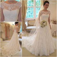 Wholesale New Arrival Glamorous Full High Quality Lace Appliqued Bateau Neck Cap Sleeves A line Wedding Dresses Bridal Gowns WD09