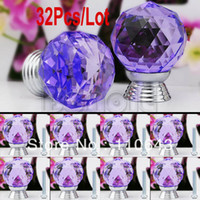 Ceramic Furniture Handle & Knob TK0737# 32pcs Lot Wholesale New 30mm Purple Glass Crystal Cabinet Drawer Knob Kitchen Pull Handle Door Cupboard Wardrobe Knob TK0737