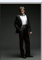 Cheap Custom Made Fit One Buttons Black And White Groom Tuxedos Peak Lapel Color Butyl Process Groomsmen 2014 Wedding Suits For Men DL1310757