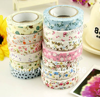 Wholesale Flower DIY office Stationery adhesive tape printed fabric tapes cotton cloth paper tape Decorative Sticker