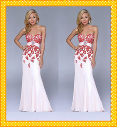 Sexy Red Applique Formal Evening Dresses Organza White Trumpet Prom Dresses Party Gowns With Crystal Beaded Red Carpet Dresses