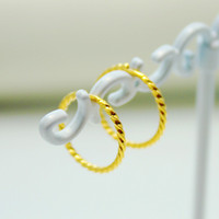 Wholesale gold plated hoop earrings Small brief circle OL jewelry k gold plated