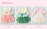 3colors baby girls' fashion lace dress long sleeved skirts k...