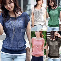 Women Polo Tops Ladies Loose Hollow-out Short Batwing Sleeve Knit women Jumper Tops Sweater